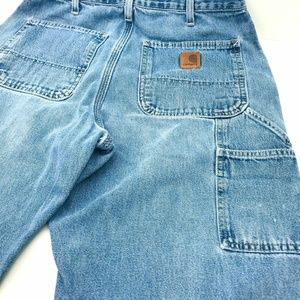 Carhartt Carpenter Jeans Size 32X32 Faded Hem Wear